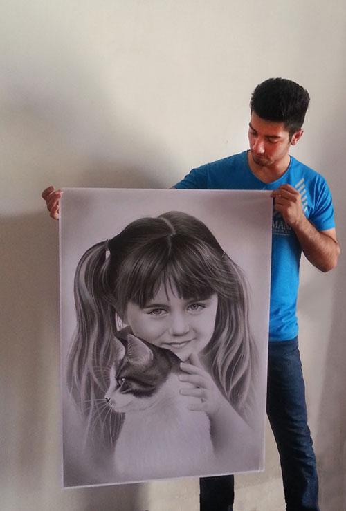 سفارش نقاشی چهره سیاه قلم