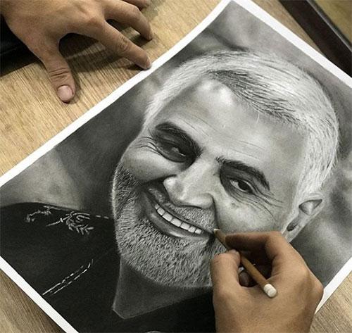 طراحی چهره سردار سلیمانی
