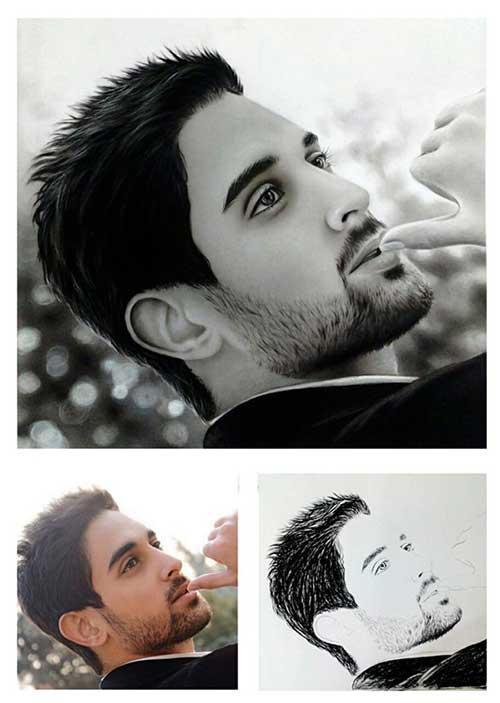 طراحی چهره ، نقاشی از روی عکس