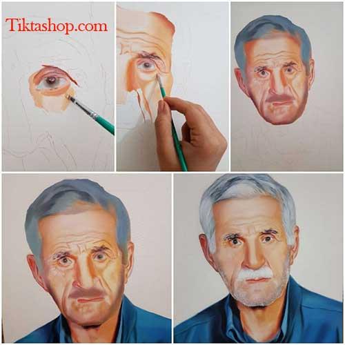 مراحل طراحی چهره با رنگ روغن