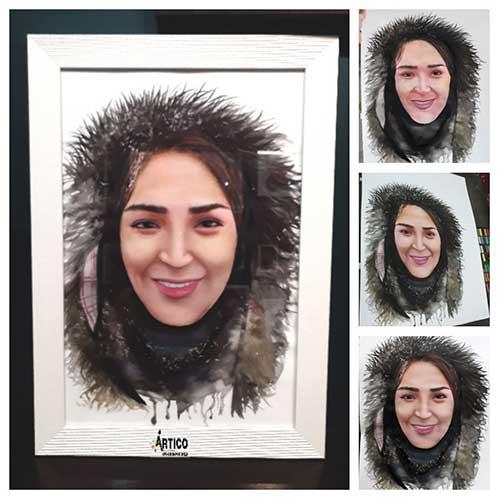 نقاشی چهره ترکیب آبرنگ و پاستل کچی
