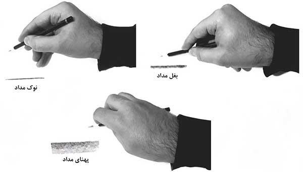 نحوه گرفتن مداد و تمرین سایه زنی